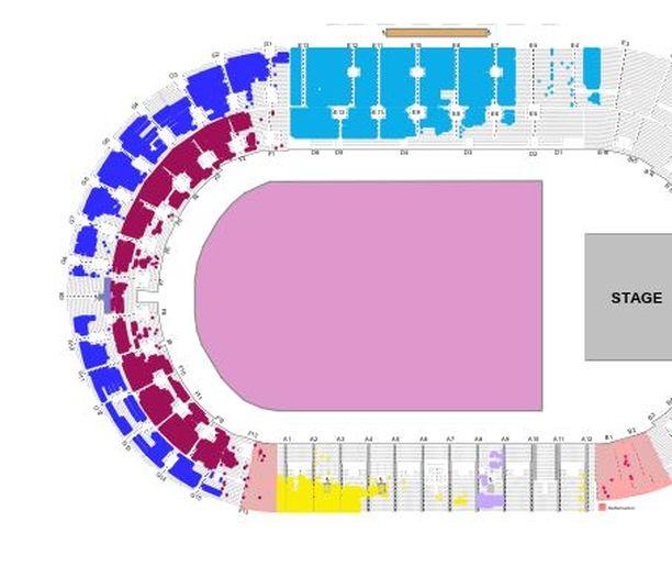 Maaliskuussa Stadionationin lipunmyyntitilanne näytti tältä. Värikkäät kohdat ovat myymättömiä paikkoja.