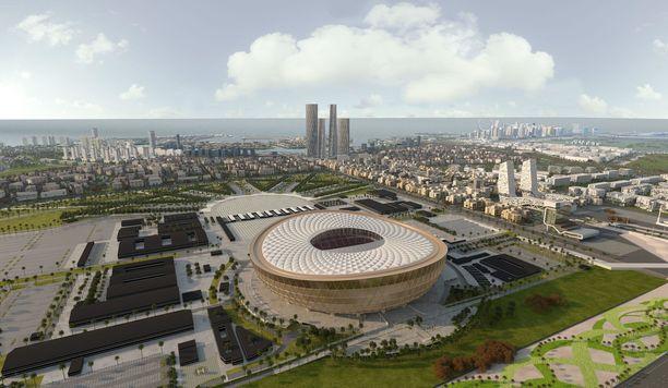 Jalkapallon MM-finaali vuonna 2022 on määrä pelata mahtipontisella Lusailin stadionilla. Havainnekuva.