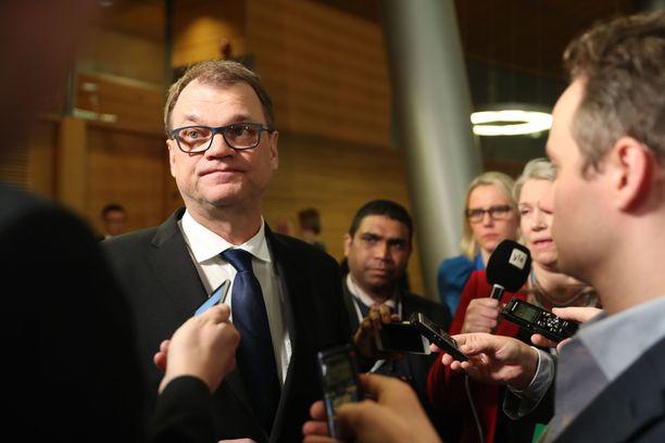 Keskustan puheenjohtaja, pääministeri Juha Sipilä eduskuntavaalien tulosillassa Pikkuparlamentissa sunnuntaina.