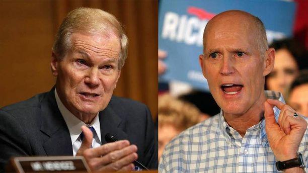 Demokraattien senaattoriehdokas Bill Nelson (vas.) hävisi niukasti republikaaniehdokas Rick Scottille Floridan senaattoritaistossa.