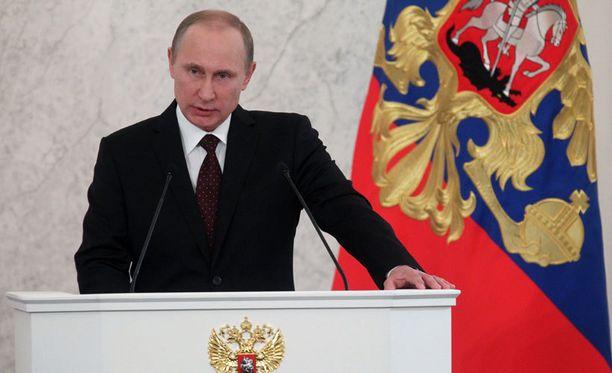 Venäjän presidentti Vladimir Putin puhui torstaina maansa taloudesta Kremlissä.
