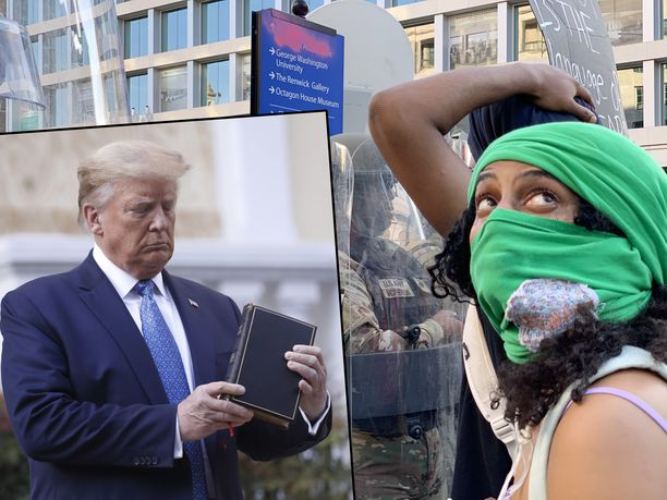 Yhdysvaltojen presidentti Donald Trump (vas.) St. Johnin kirkon edustalla maanantaina ja mielenosoittaja (oik.) usean korttelin päässä. Tätä ennen poliisi oli käyttänyt kirvelevää kaasua mielenosoittajia vastaan.