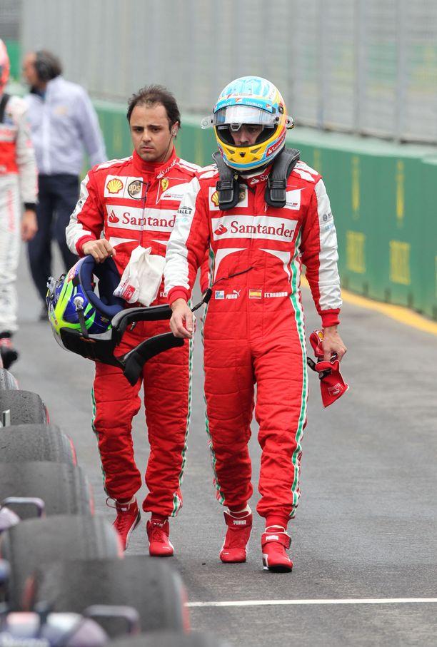 Felipe Massa ja Fernando Alonso olivat tallikavereita 2012.
