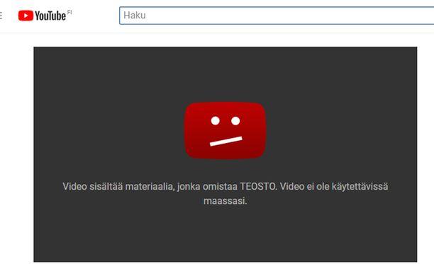 Tällainen teksti tulee vastaa Youtubessa, kun yrittää katsella musiikkivideota.