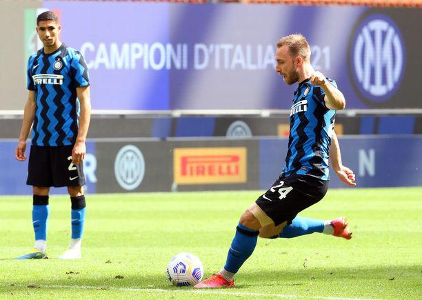 Christian Eriksenin pelasi viime kaudella milanolaisen Interin paidassa 34 ottelussa.