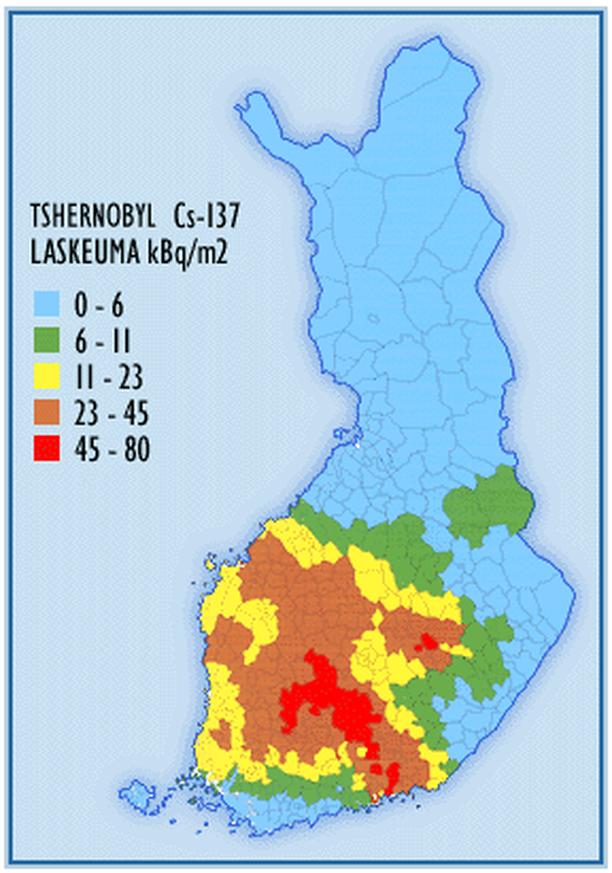 Cesium-137-laskeuma Suomessa vuonna1987. Cesium-137:n puoliintumisaika on 30 vuotta, joten nyt radioaktiivisuus on puolet kartassa esitetystä.