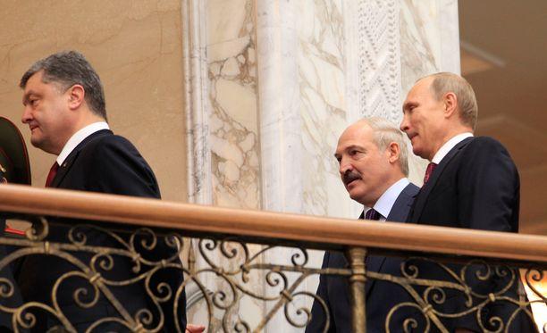 Poroshenko ja Putin kohtasivat Minskin tulitaukoneuvotteluissa helmikuussa. Kokousta isännöi Valko-Venäjän presidentti Aljaksandr Lukashenka.