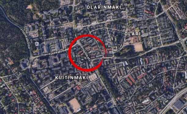 Tapaus sattui Olarinkadulla Espoossa.