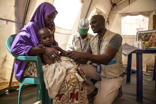 UNICEFin ravitsemusasiantuntija Andrew Sammy tutki pikkuvauvaa klinikalla Dikwassa Bornon osavaltiossa.
