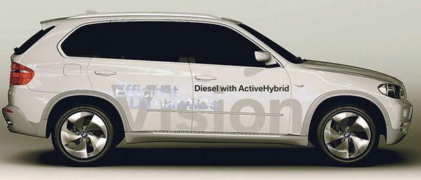 KONSEPTIAUTO BMW:n uusi X5-hybridi on toistaiseksi vasta konseptiauto. Tekniikka on kuitenkin jo olemassa.