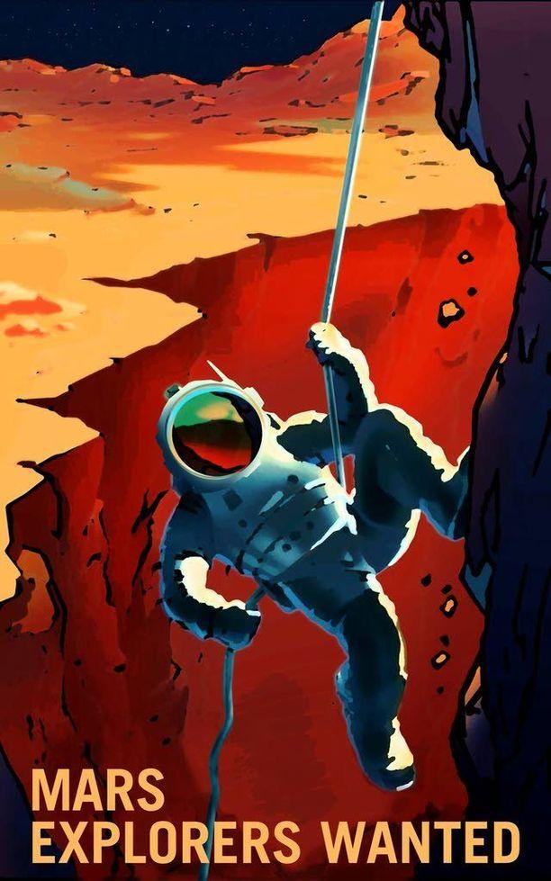 """Nasan sivuilla julkaistuissa kuvissa muistutetaan, että punainen planeetta tarjoaa todellisille tutkimusmatkailijoille paljon mahdolllisuuksia. Siellä voi esimerkiksi """"retkeillä"""" aurinkokunnan laajimmassa kanjonissa, Valles Marinerissa, joka on peräti neljä kilometriä syvä."""