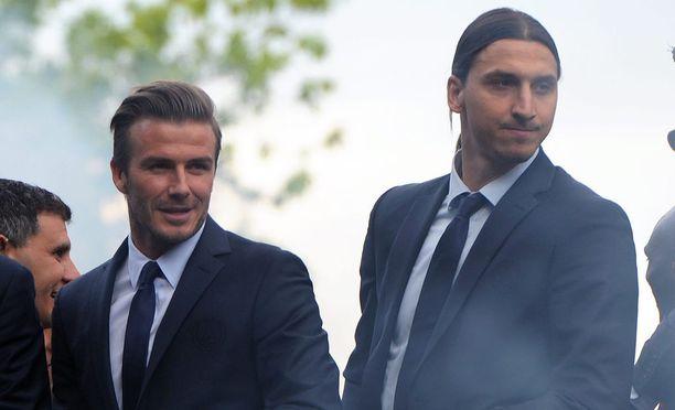 David Beckham ja Zlatan Ibrahimovic ovat vanhoja joukkuekavereita PSG-ajoilta.