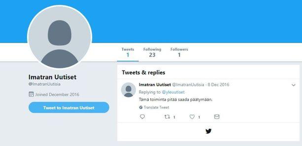 Imatran Uutiset -niminen Twitter-tili luotiin joulukuussa 2016, jolloin ampumavälikohtaus tapahtui. Nyt tili on käytännössä kuollut.