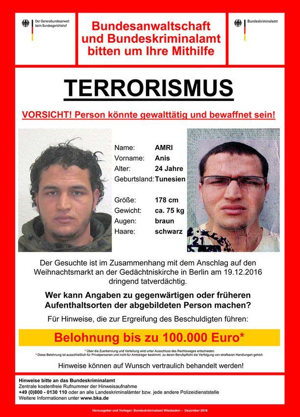 Saksa lupaa 100 000 euron palkkion vihjeestä, jonka avulla Anis Amri saadaan kiinni.