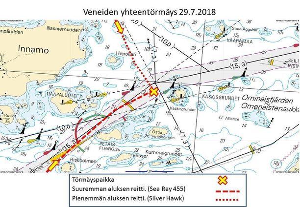 Tällaista reittiä Nauvon sunnuntaisessa onnettomuudessa törmänneet veneet kulkivat ennen törmäystä.