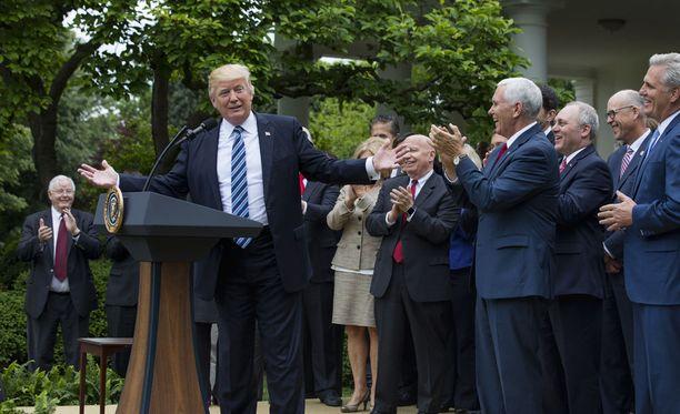 Yhdysvaltain presidentti Donald Trump puhui äänestyksen jälkeen Valkoisessa talossa.