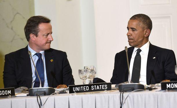 Ison-Britannian David Cameron ja Yhdysvaltain Barack Obama kohtasivat Varsovassa.