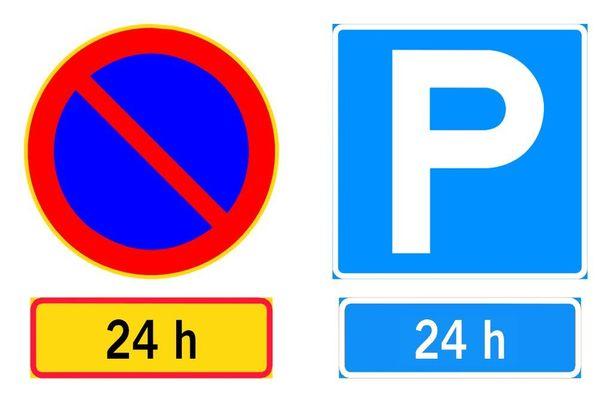Sama sallivuus: pysäköintikieltoa lievennetään 24 tunnin aikarajalla ja pysäköinti sallitaan 24 tunniksi. Kumpi merkkipari on helpompi ymmärtää?