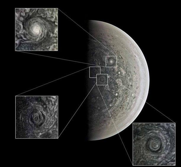 Jupiterin napa-alueilla riehuu valtavia myrskyjä.