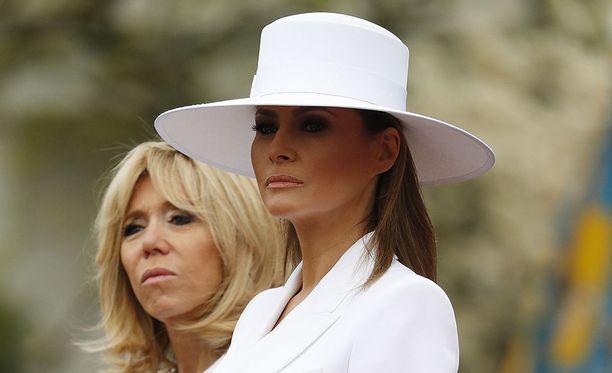 Brigitte Macron ja Melania Trump tapasivat viimeksi kesällä Pariisissa. Kuva Washingtonin-vierailulta.