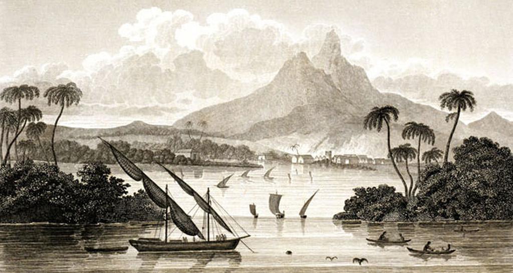 """Tällaisella kuvalla """"Poyaisin satamasta"""" MacGregor esitteli keksimäänsä valtiota. Kuva esitteestä vuodelta 1822."""