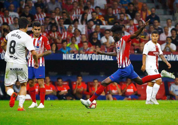 Atléticon Thomas Partey pommitti maaliverkot kireälle tiistai-iltana.