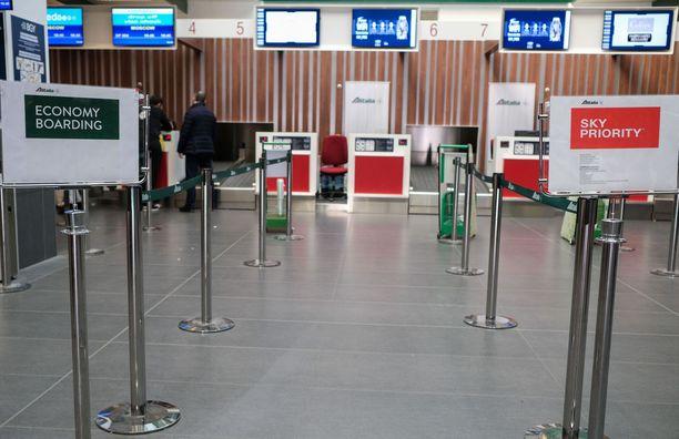 Bergamon lentokenttä Italiassa autioitui.
