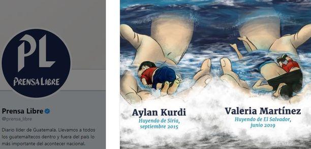 Guatemalalainen lehti Prensa Libre rinnasti julkaisemassaan kuvassa Alan Kurdin ja Valeria Martínezin kohtalot.