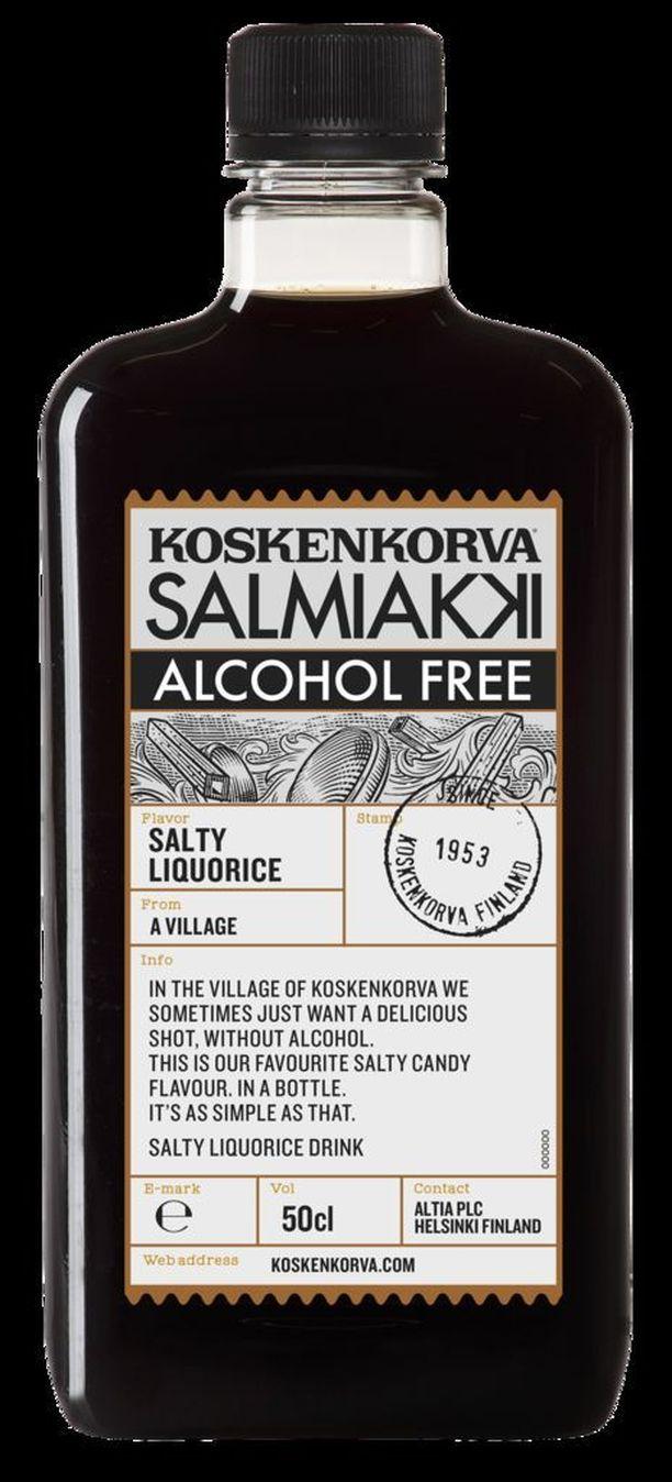 Tällaisessa pullossa myydään alkoholitonta salmaria.