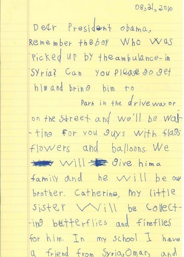 Valkoinen talo halusi jakaa Alexin presidentille lähettämän kirjeen muidenkin luettavaksi.
