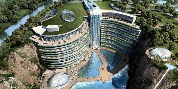 Entinen kaivos muutettiin Kiinassa ylelliseksi hotelliksi.