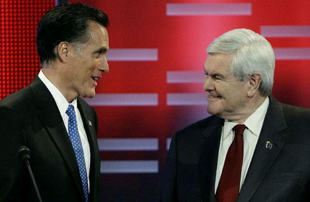 Konkari Newt Gingrich on kiilannut ohi Mitt Romneyn.
