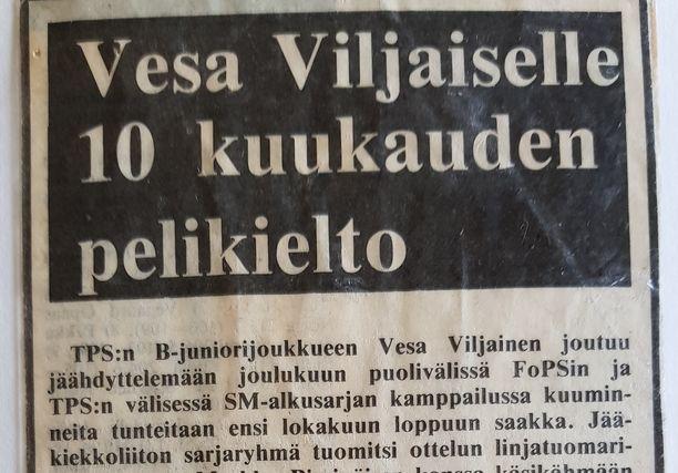 Forssan lehti uutisoi Viljaisen pelikiellosta tuoreeltaan.
