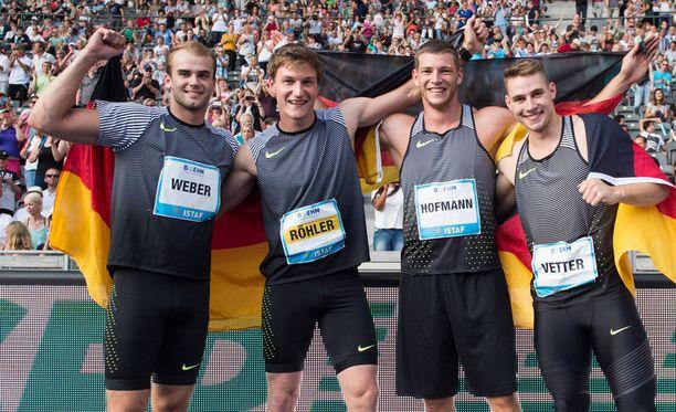 Julian Weber (vas.), Thomas Röhler, Andreas Hofmann ja Johannes Vetter ovat Saksan keihästähtiä.