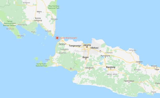 Punainen symboli kartalla osoittaa merialueen, jolta tsunami eteni kohti saaria.