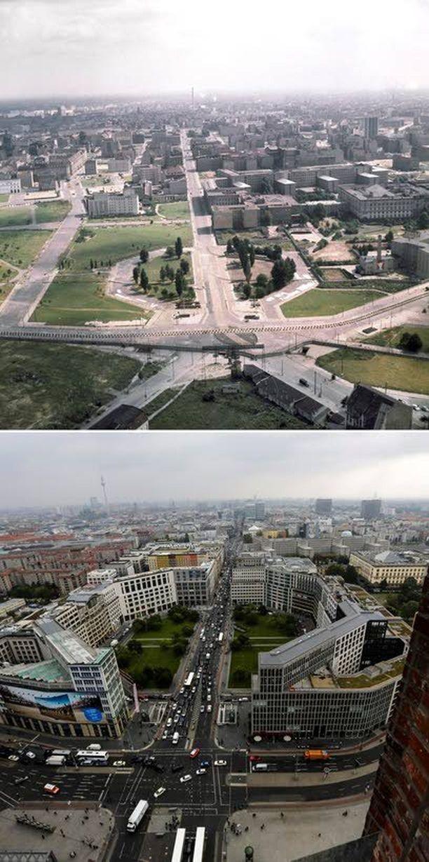 Tyhjä Potsdamer Platz vuonna 1962 ja liikenteen ympäröimänä nyt.
