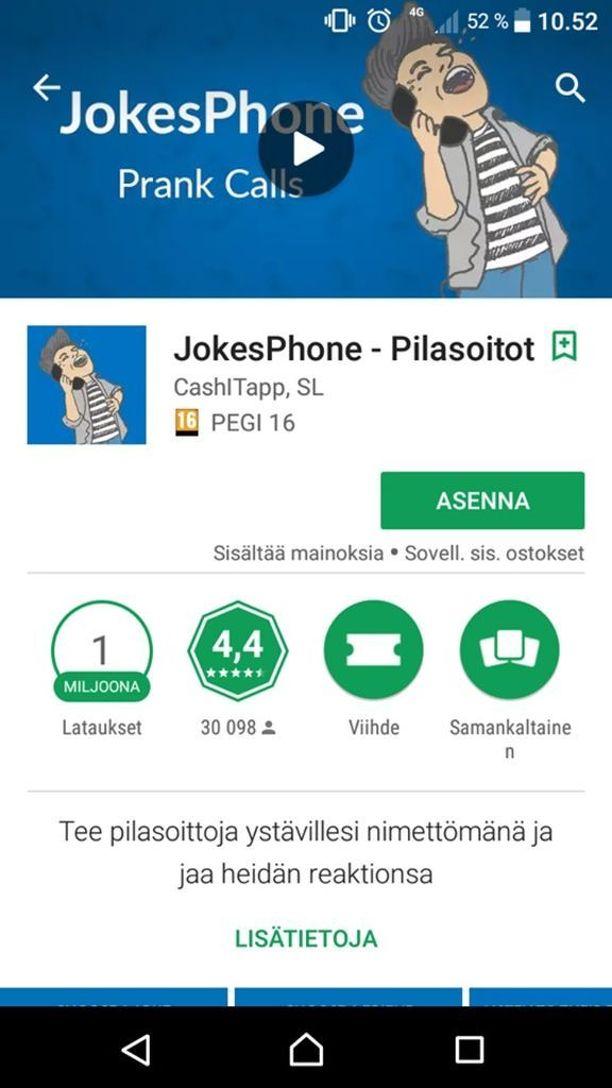 Ilmaisella Jokesphone-sovelluksella on Googlen sovelluskaupassa jo miljoona latauskertaa.