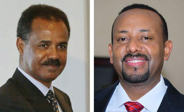 Kuvassa Eritrean presidentti Isaias Afwerki (vas.) ja Etiopian pääministeri Abiy Ahmed (oik.)