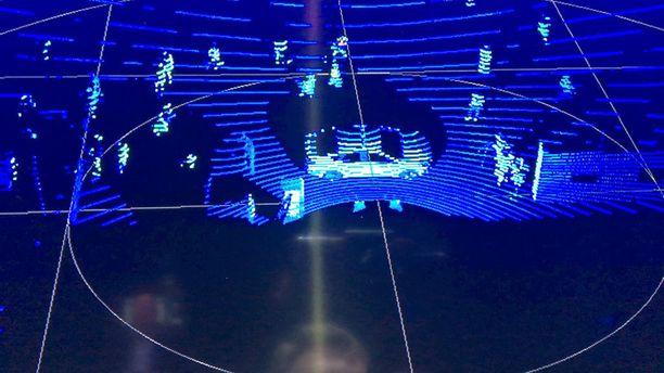 16-kanavaisen lidarin kuvassa näkyy 16 viivaa, joista tietokone muokkaa kolmiulotteisen kuvan. Kuva on tarkoitettu koneiden käytettäväksi - ei ihmisen katsottavaksi.