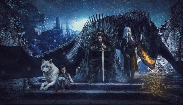 Sami Kapanen Ned Starkina, Satu Kapanen Daenerys Targaryeninä ja Satun Ava-tytär Aryana.