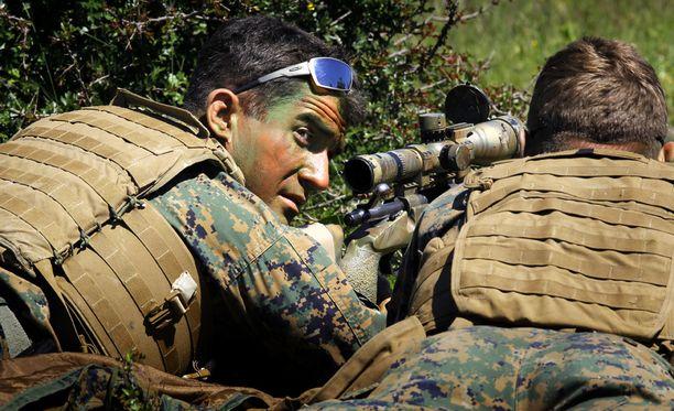 Yhdysvaltain merijalkaväen tarkka-ampuja sotaharjoituksessa Romaniassa vuonna 2014.
