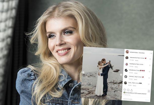 Alina Tomnikov ja Lauri Laukkanen menivät lauantaina naimisiin.