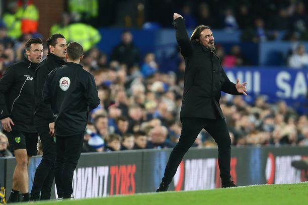 Norwich-manageri Daniel Farke tuuletti kolmea pistettä Goodison Parkilla.