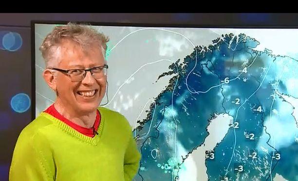 Meteorologi Pekka Pouta ei todellakaan pysynyt vakavana ennustaessaan kevätkelin hieman lämpenevän.