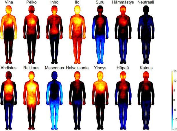 Kartta näyttää, mitkä kehon osat aktivoituivat (lämpimät värit) ja missä aktiivisuus taas laski (siniset sävyt) tietyissä tunnetiloissa. (KUVA: AALTO-YLIOPISTO)