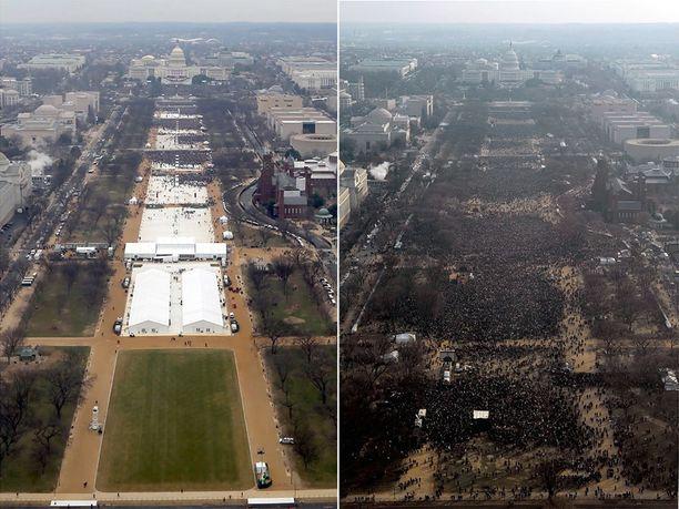 Trump 2017 ja Obama 2009. Jälkimmäisen yleisön koko oli jopa 1,8 miljoonaa. Trump jäi arviolta kolmasosaan tästä.