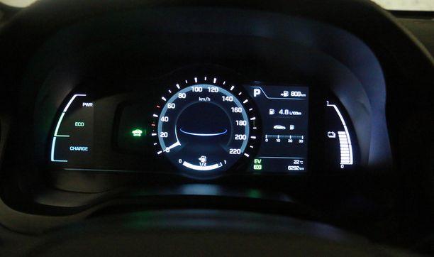 Perusmittariston vasen reuna kertoo, milloin auto latailee.