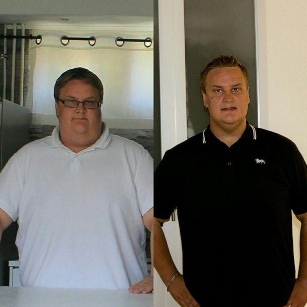 Sami Lindgren laihtui lähes 50 kiloa. Kuvien välillä on kulunut kaksi vuotta, toinen on otettu vuonna 2015 ja toinen vuonna 2017.