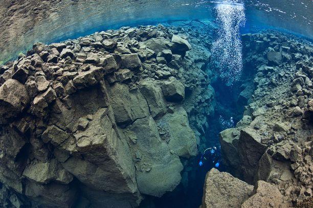 Silfrassa sukellellaan kahden mannerlaatan välissä.