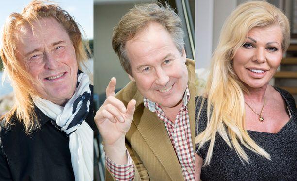 Tommi Läntinen, Simo Leporanta ja Tiina Jylhä kantavat kortensa kekoon illan Nenäpäivä-lähetyksessä.
